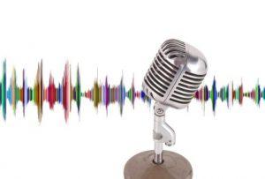 Микрофон на фоне звуковой волны. иллюстрация