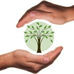Руки вокруг сферы с деревом. иллюстрация