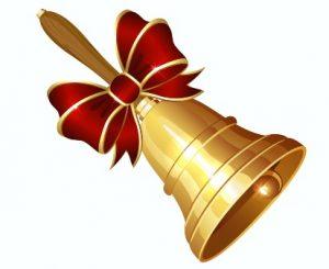 Золотой колокольчик с красной лентой. иллюстрация