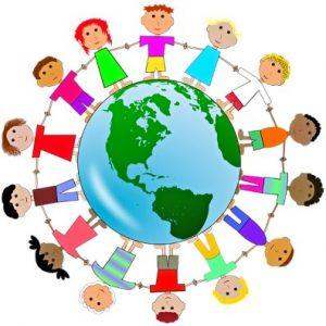 Земной шар окруженный детскими фигурками. иллюстрация