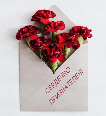 Красные гвоздики в конверте. фото