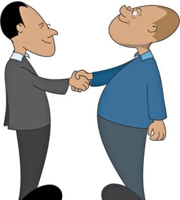 два человека пожимают друг другу руки. иллюстрация