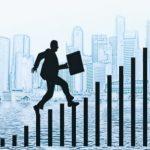Человек, идущий по столбам вверх. иллюстрация