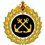 золотой круглый щит с 2 перекрещенными якорями