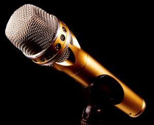 Микрофон металлический для сцены. фото