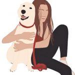 силуэты девушки и пса. иллюстрация