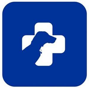 Синий квадрат с белым медицинским крестом и собакой. иллюстрация