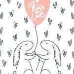 Зайцы держат шарик в виде сердца с надписью. иллюстрация