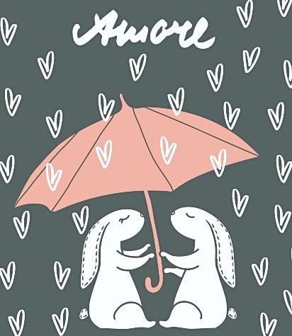 пара зайцев под одним зонтом. иллюстрация