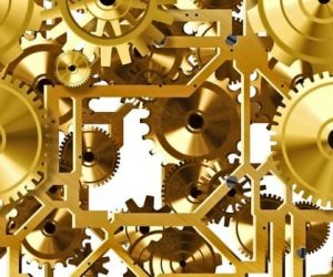 шестерни золотого цвета. иллюстрация