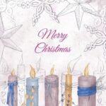 Разноцветные зажженные свечи. иллюстрация