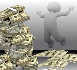 Силуэт человека с горой долларов. иллюстрация