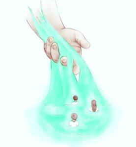 Рука, с которой стекает вода. иллюстрация