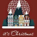 ряд домов на фоне зимних елей и салюта. иллюстрация
