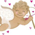 Улыбающийся Купидон с луком и стрелой. иллюстрация