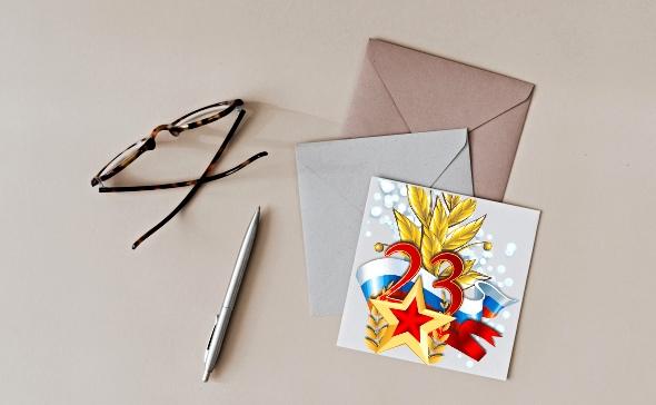 Конверты, карточка и авторучка. фото