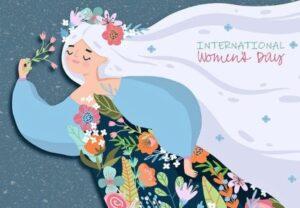 Женский силуэт в цветочном наряде. иллюстрация