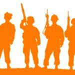 Силуэты мужчин с оружием. иллюстрация
