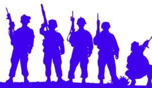 Силуэты солдат. иллюстрация