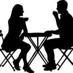 Силуэты мужчины и женщины за столом. иллюстрация