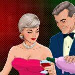 Мужчина наливает шампанское девушке. иллюстрация