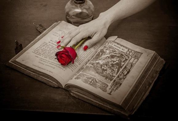 Рука с цветком, лежащая на книжных страницах. фото