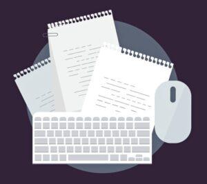 Листы бумаги, клавиатура, мышь компьютерная. иллюстрация