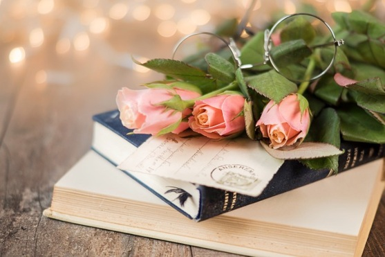Букет роз лежит на книгах. фото