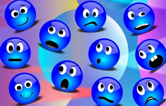 Синие смайлы на абстрактом фоне. иллюстрация