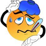 Смайл, изображающий заболевшего. иллюстрация