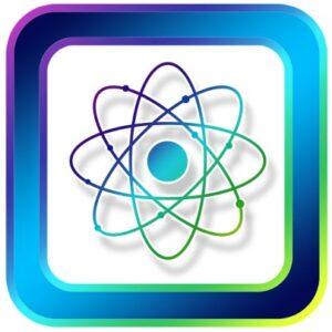 знак атома в синей рамке. иллюстрация